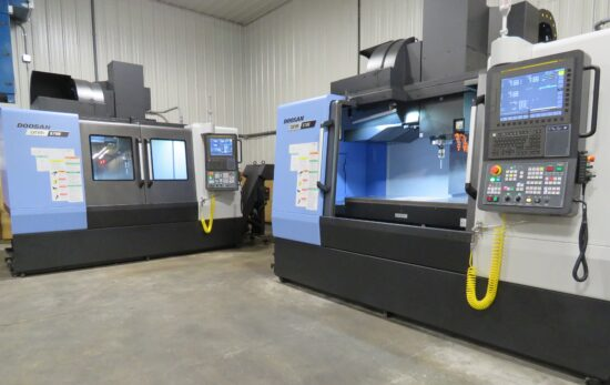 Two Doosan DNM 5700 CNC Vertical Machining Centers, High Pressure Thru-Spindle Coolant, Probing System