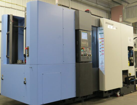 "Two Doosan HC400II CNC Horizontal Machining Centers, High Pressure Thru-Spindle Coolant, 16"" Rotating Pallets, Probing System"